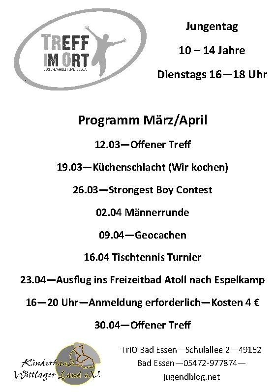 Programm Jungentag März_April 2013