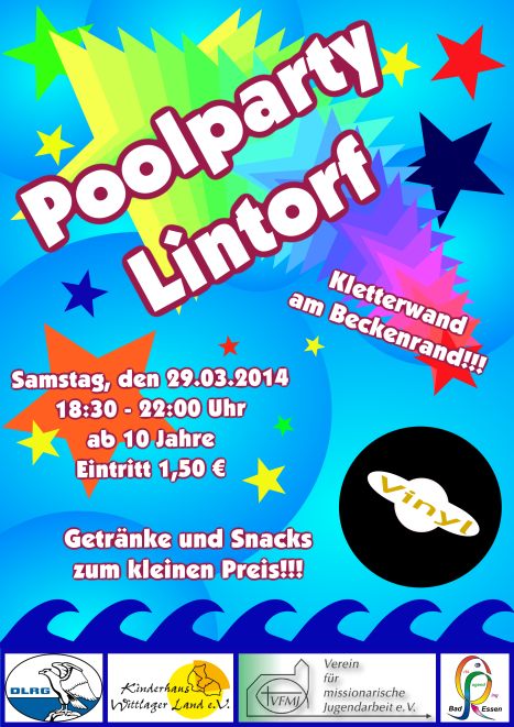 Poolparty Flyer Kletterwand 29.03.2014