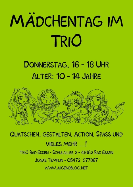Mädchentag TriO Front Publisher 09.2015 Grün